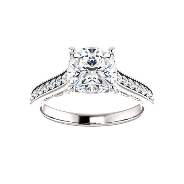 The Andrea Moissanite cushion moissanite engagement ring solitaire setting white gold