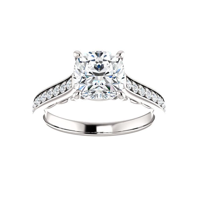 The Andrea Moissanite cushion diamond engagement ring solitaire setting white gold