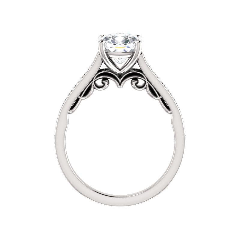 The Andrea Moissanite cushion diamond engagement ring solitaire setting white gold side profile