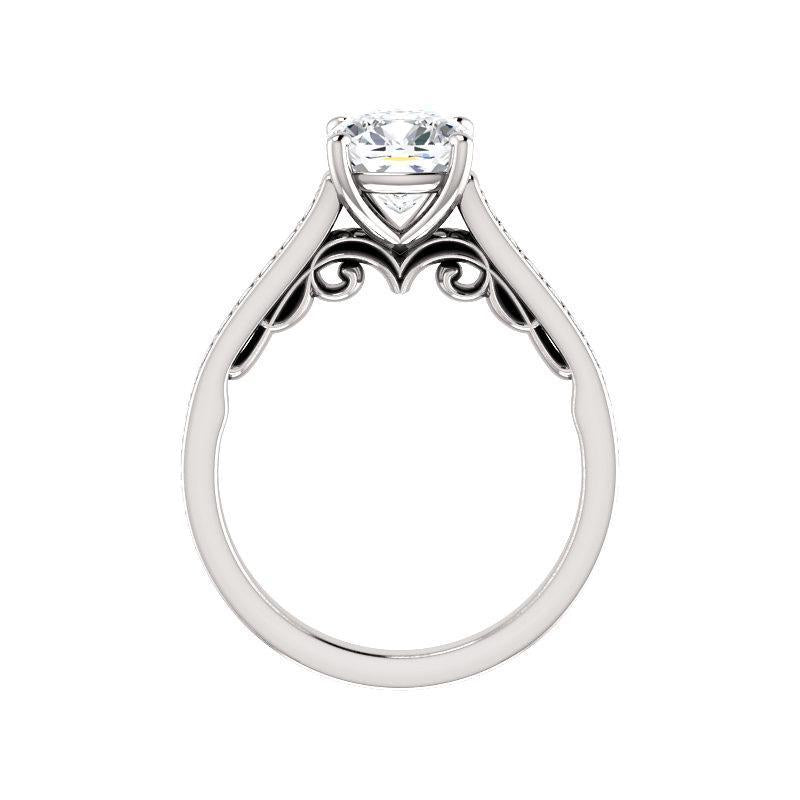 The Andrea Moissanite cushion moissanite engagement ring solitaire setting white gold side profile