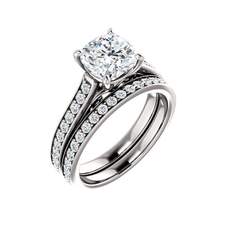 The Andrea Moissanite cushion moissanite engagement ring solitaire setting white gold with matching band