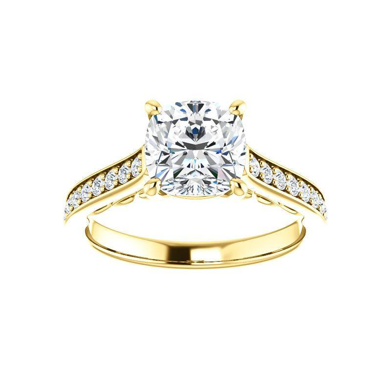 The Andrea Moissanite cushion moissanite engagement ring solitaire setting yellow gold