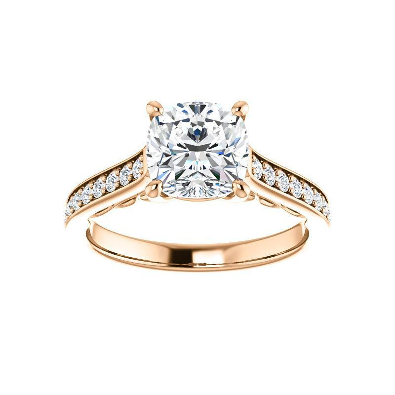 The Andrea Moissanite cushion moissanite engagement ring solitaire setting rose gold