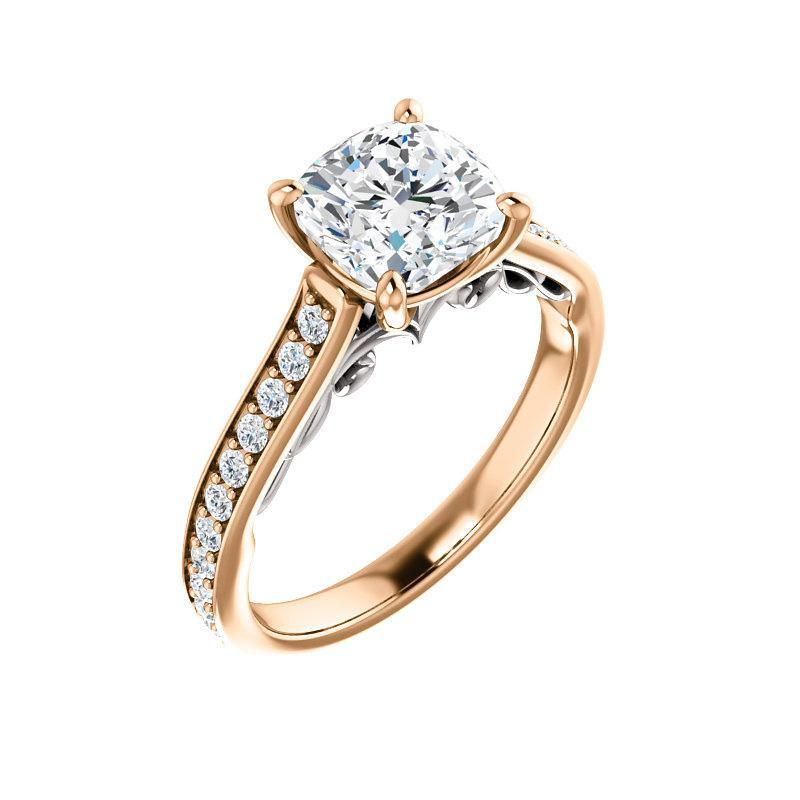 The Andrea Moissanite cushion moissanite engagement ring solitaire setting rose gold and white accent