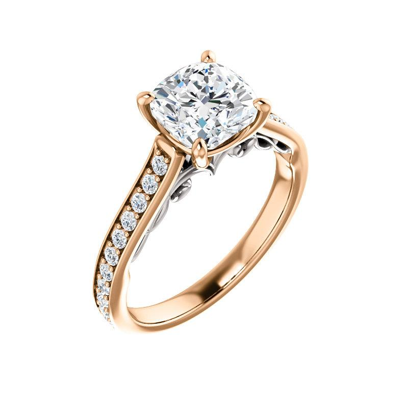 The Andrea Moissanite cushion diamond engagement ring solitaire setting rose gold and white accent