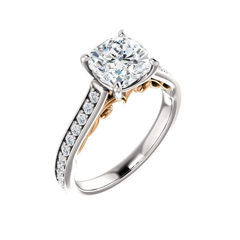 The Andrea Moissanite cushion moissanite engagement ring solitaire setting white gold and rose gold accent
