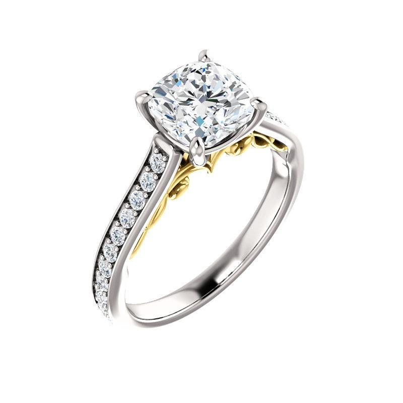 The Andrea Moissanite cushion moissanite engagement ring solitaire setting white gold and yellow gold accent