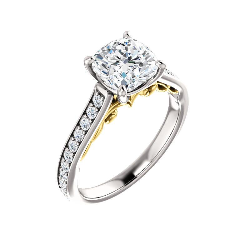 The Andrea Moissanite cushion diamond engagement ring solitaire setting white gold and yellow gold accent