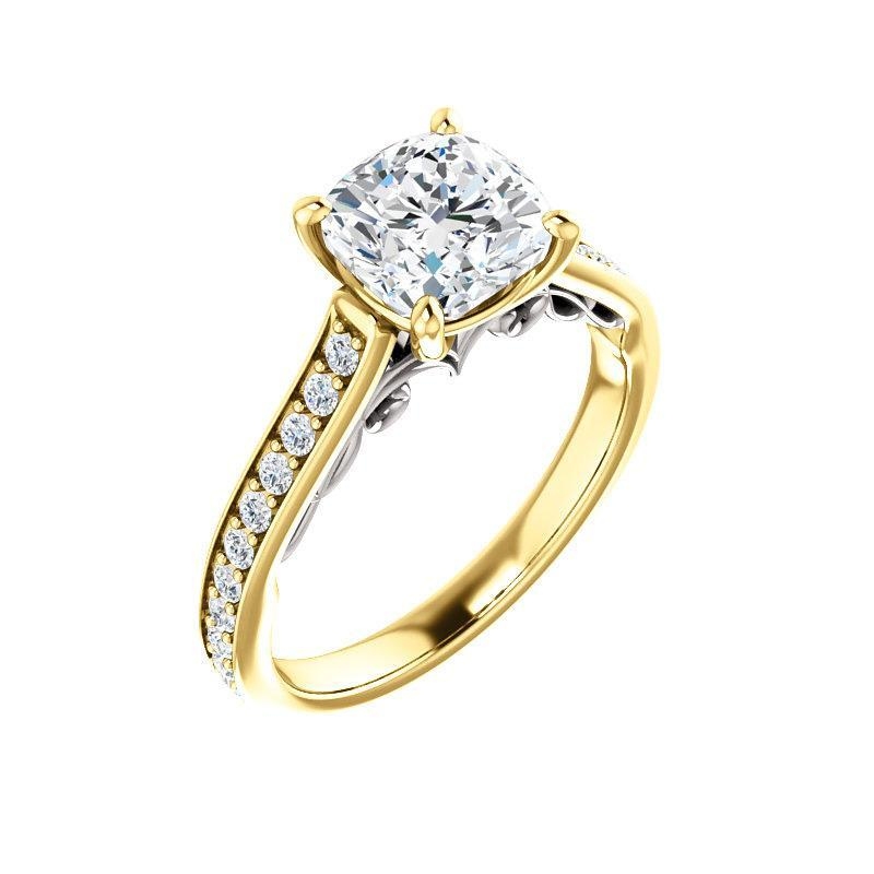 The Andrea Moissanite cushion moissanite engagement ring solitaire setting yellow gold and white gold accent