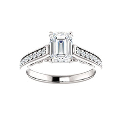 The Andrea Moissanite emerald moissanite engagement ring solitaire setting white gold