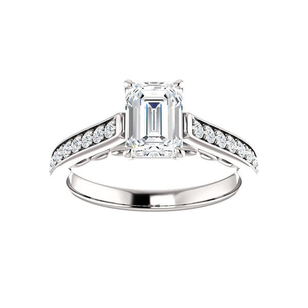 The Andrea Moissanite emerald diamond engagement ring solitaire setting white gold