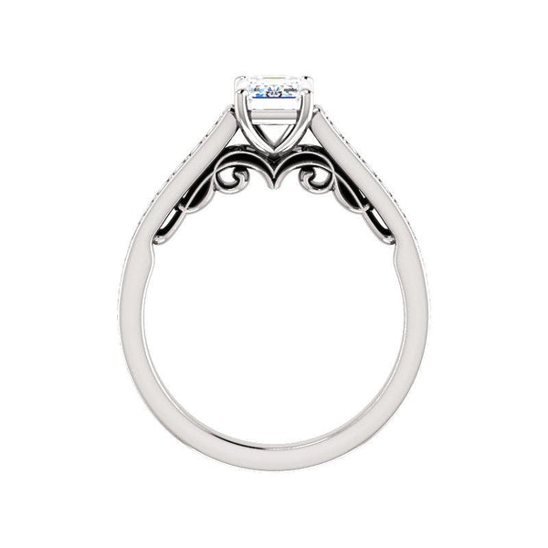 The Andrea Moissanite emerald diamond engagement ring solitaire setting white gold side profile