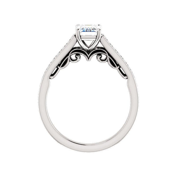The Andrea Moissanite emerald moissanite engagement ring solitaire setting white gold side profile