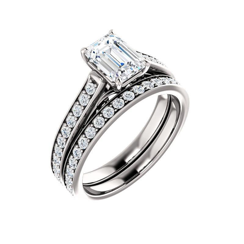 The Andrea Moissanite emerald moissanite engagement ring solitaire setting white gold with matching band