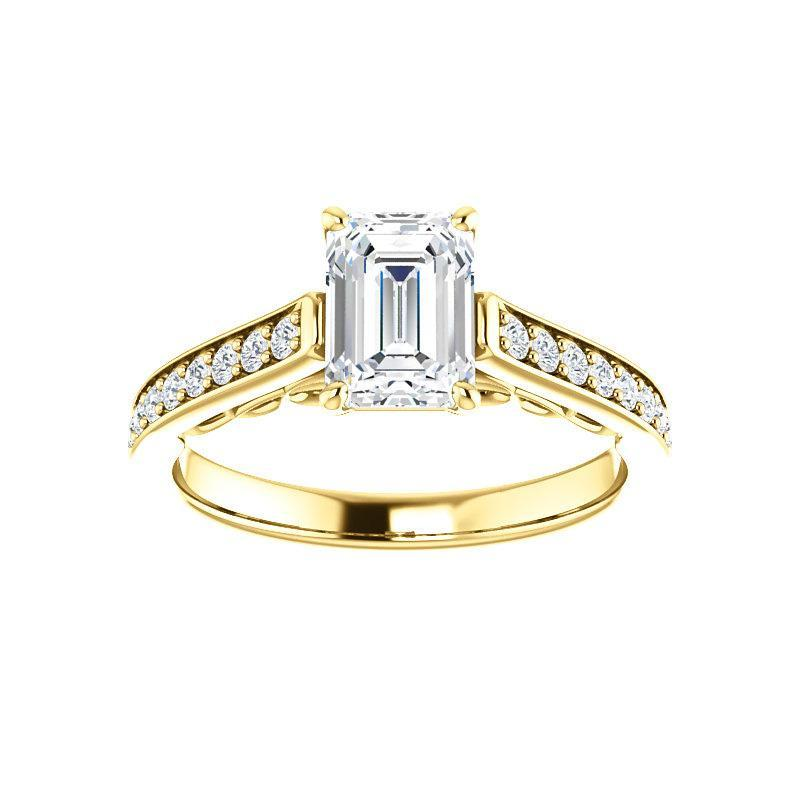 The Andrea Moissanite emerald moissanite engagement ring solitaire setting yellow gold