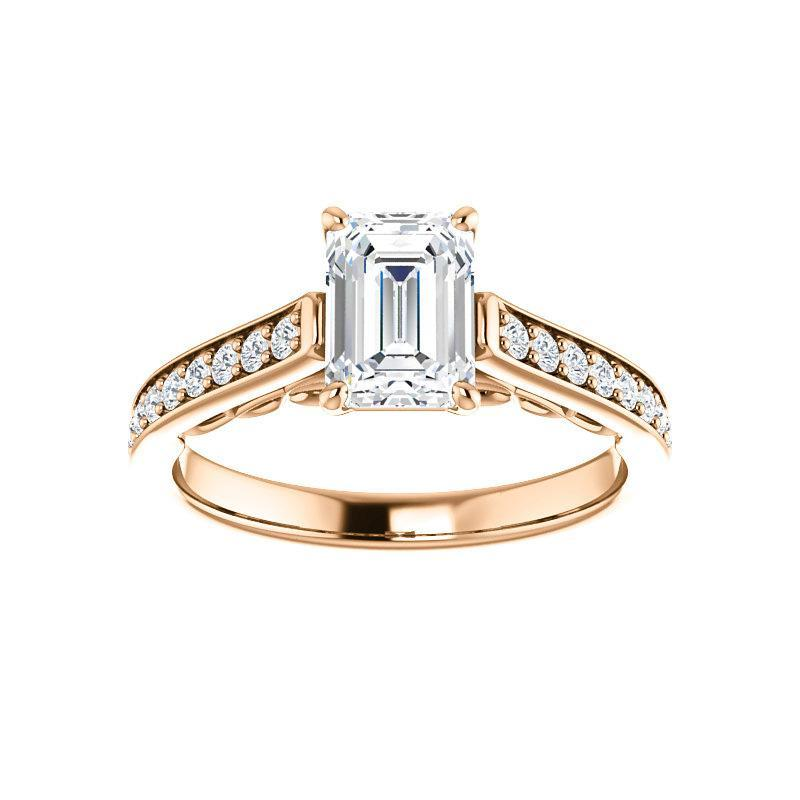 The Andrea Moissanite emerald moissanite engagement ring solitaire setting rose gold