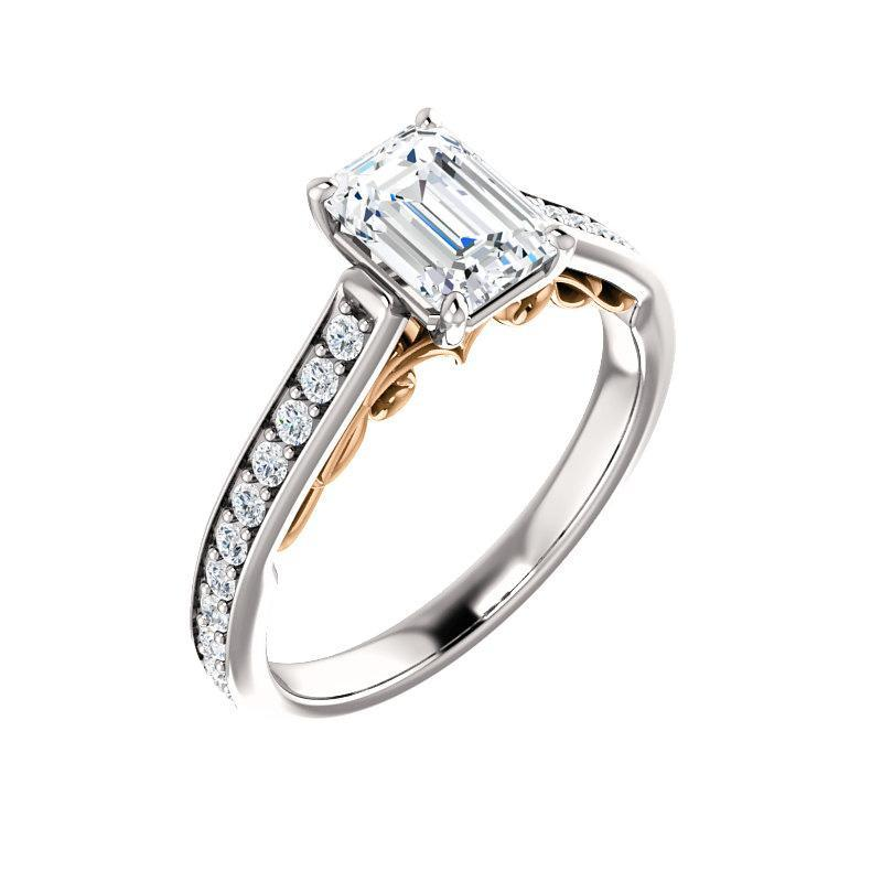 The Andrea Moissanite emerald moissanite engagement ring solitaire setting white gold and rose gold accent
