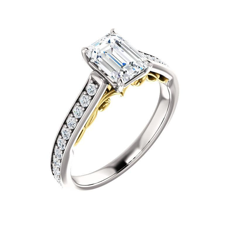 The Andrea Moissanite emerald moissanite engagement ring solitaire setting white gold and yellow gold accent