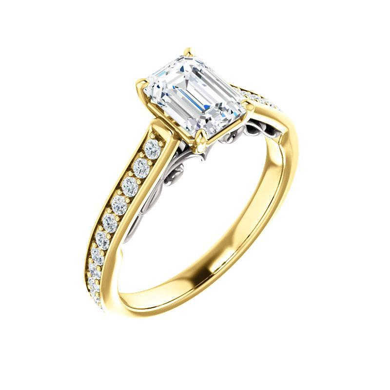 The Andrea Moissanite emerald moissanite engagement ring solitaire setting yellow gold and white gold accent