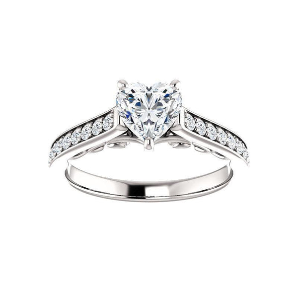 The Andrea Moissanite heart moissanite engagement ring solitaire setting white gold