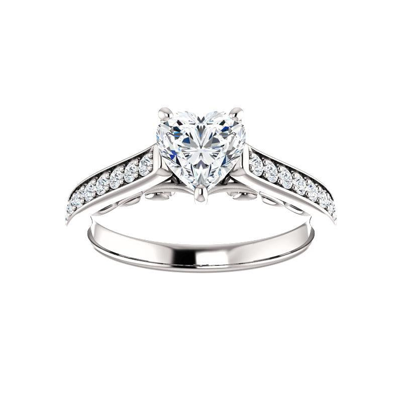 The Andrea Moissanite heart diamond engagement ring solitaire setting white gold