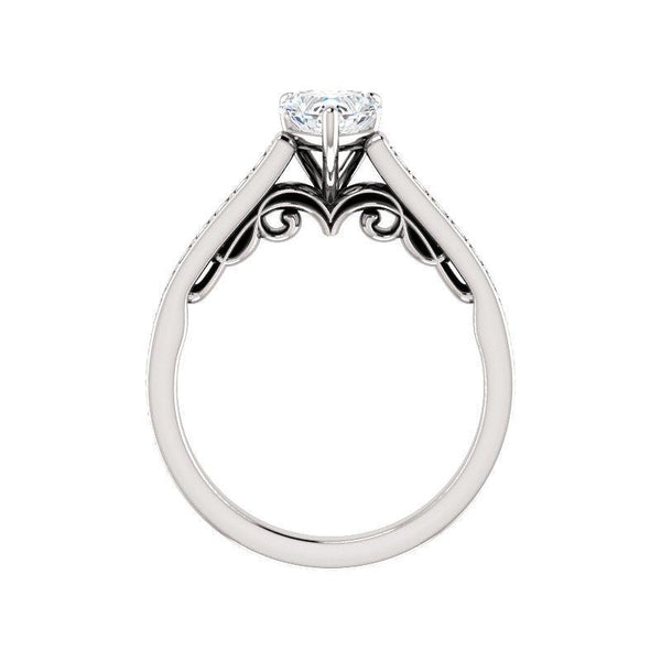 The Andrea Moissanite heart moissanite engagement ring solitaire setting white gold side profile