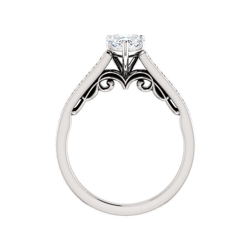 The Andrea Moissanite heart diamond engagement ring solitaire setting white gold side profile