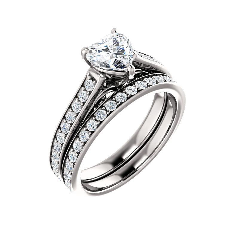 The Andrea Moissanite heart moissanite engagement ring solitaire setting white gold with matching band