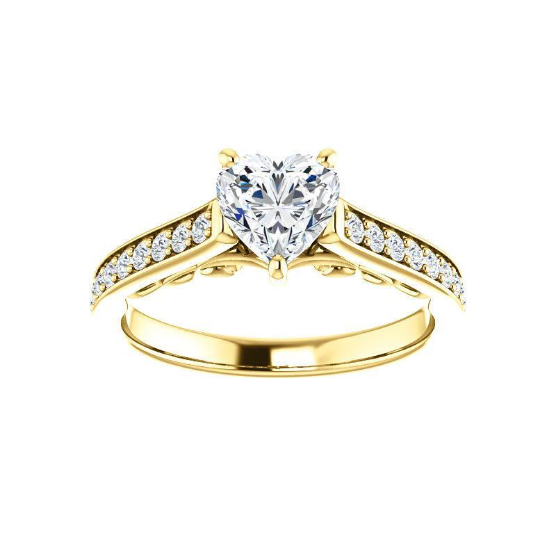 The Andrea Moissanite heart moissanite engagement ring solitaire setting yellow gold