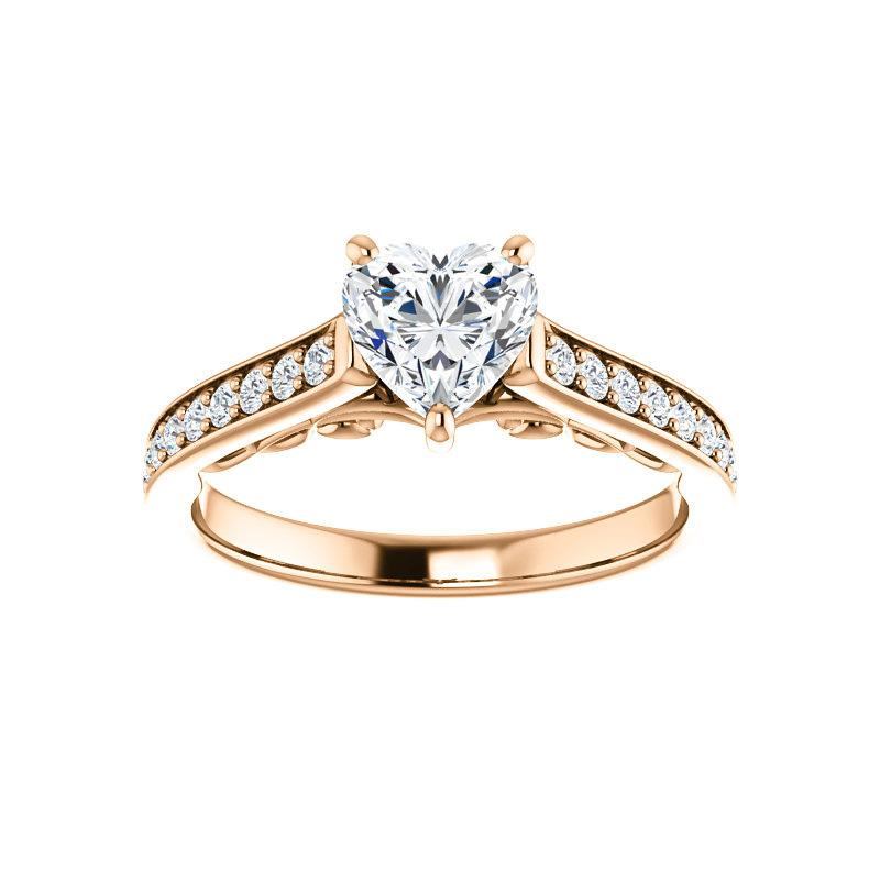 The Andrea Moissanite heart diamond engagement ring solitaire setting rose gold