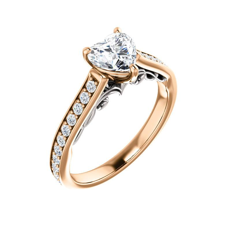 The Andrea Moissanite heart diamond engagement ring solitaire setting rose gold and white accent