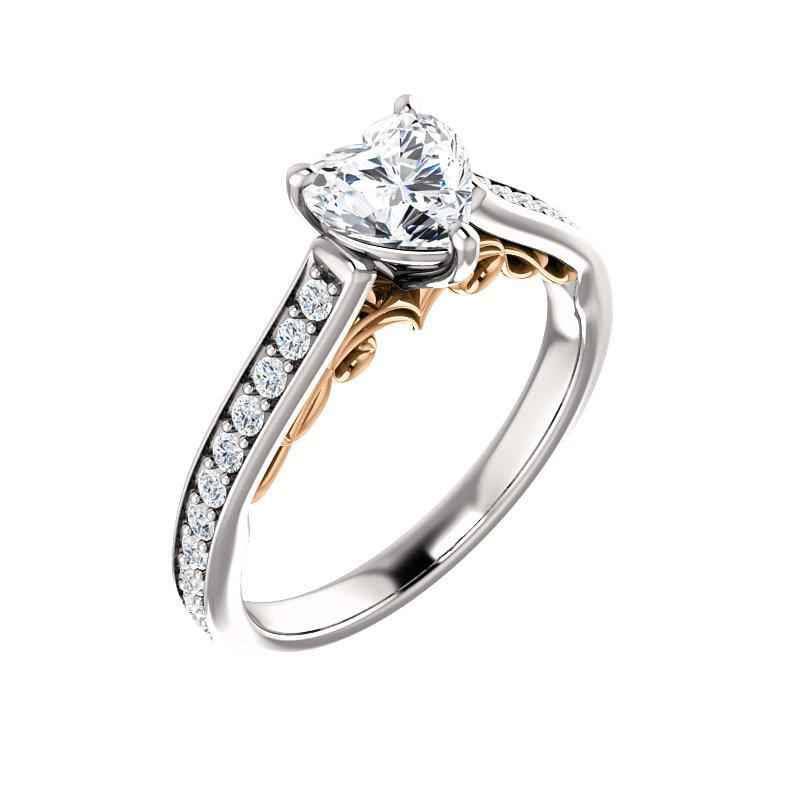 The Andrea Moissanite heart diamond engagement ring solitaire setting white gold and rose gold accent