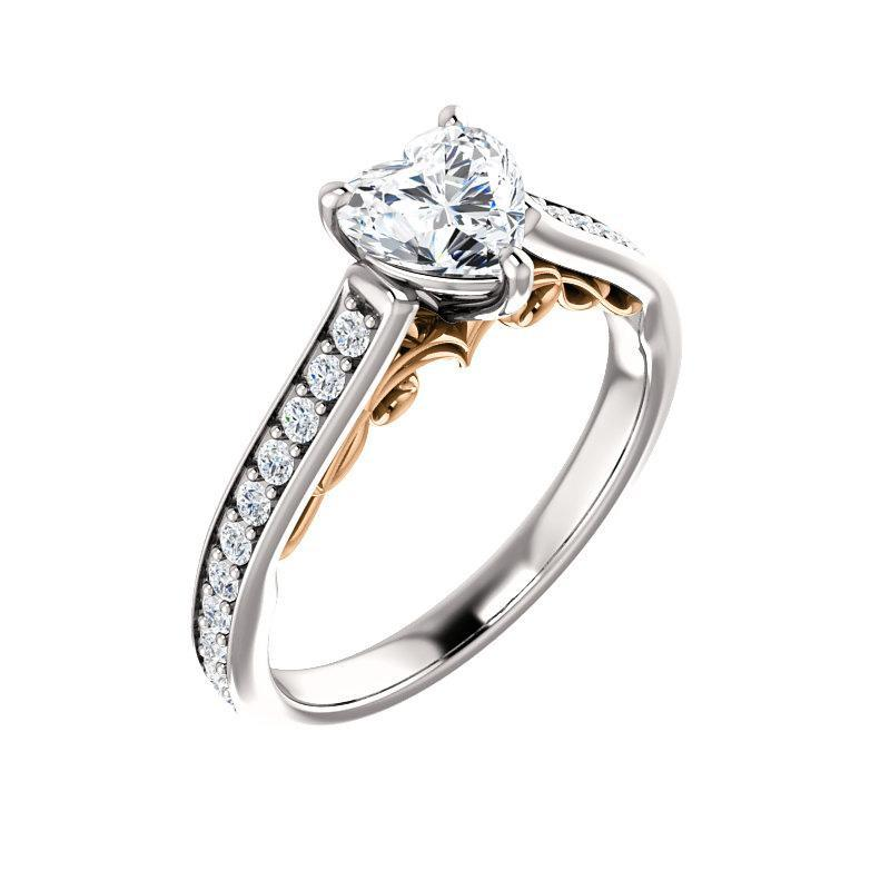 The Andrea Moissanite heart moissanite engagement ring solitaire setting white gold and rose gold accent