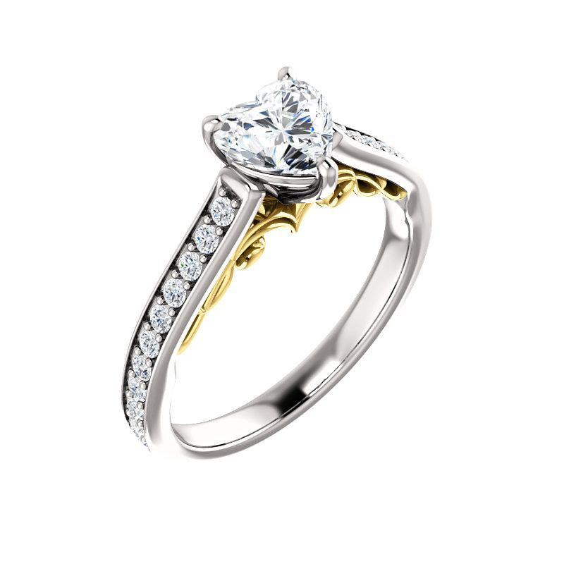 The Andrea Moissanite heart moissanite engagement ring solitaire setting white gold and yellow gold accent