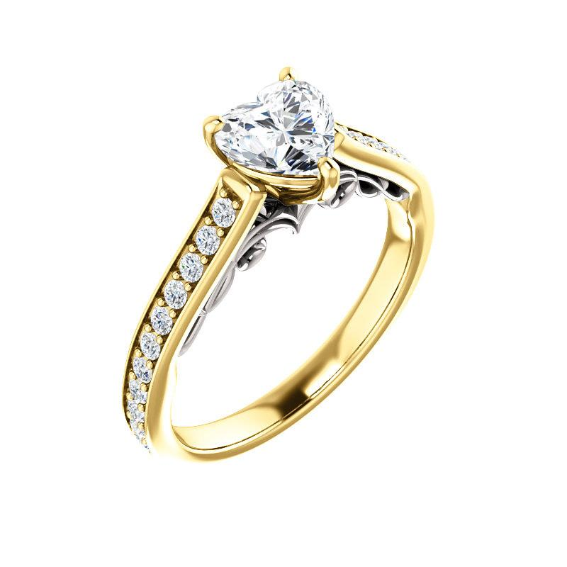 The Andrea Moissanite heart diamond engagement ring solitaire setting yellow gold and white gold accent
