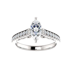 The Andrea Moissanite marquise diamond engagement ring solitaire setting white gold