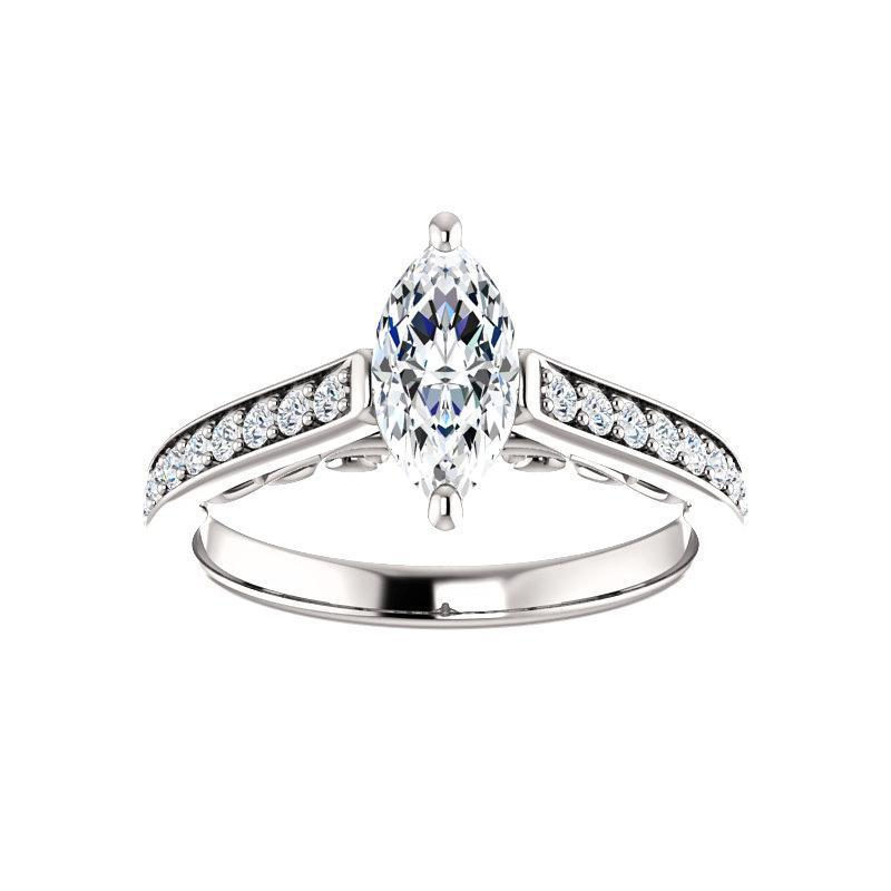 The Andrea Moissanite marquise moissanite engagement ring solitaire setting white gold