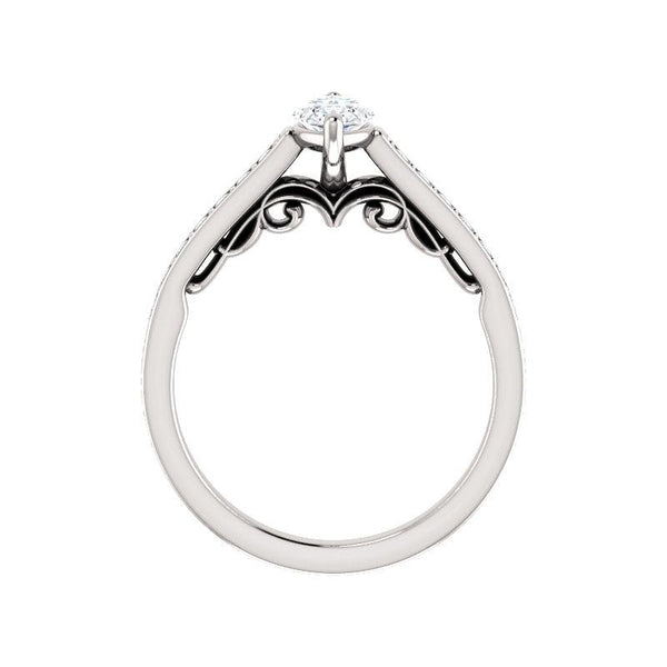 The Andrea Moissanite marquise diamond engagement ring solitaire setting white gold side profile