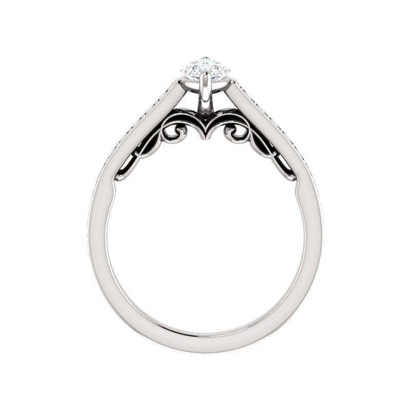 The Andrea Moissanite marquise moissanite engagement ring solitaire setting white gold side profile