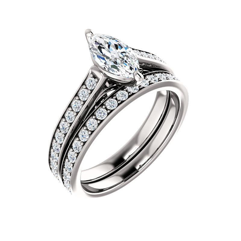 The Andrea Moissanite marquise moissanite engagement ring solitaire setting white gold with matching band