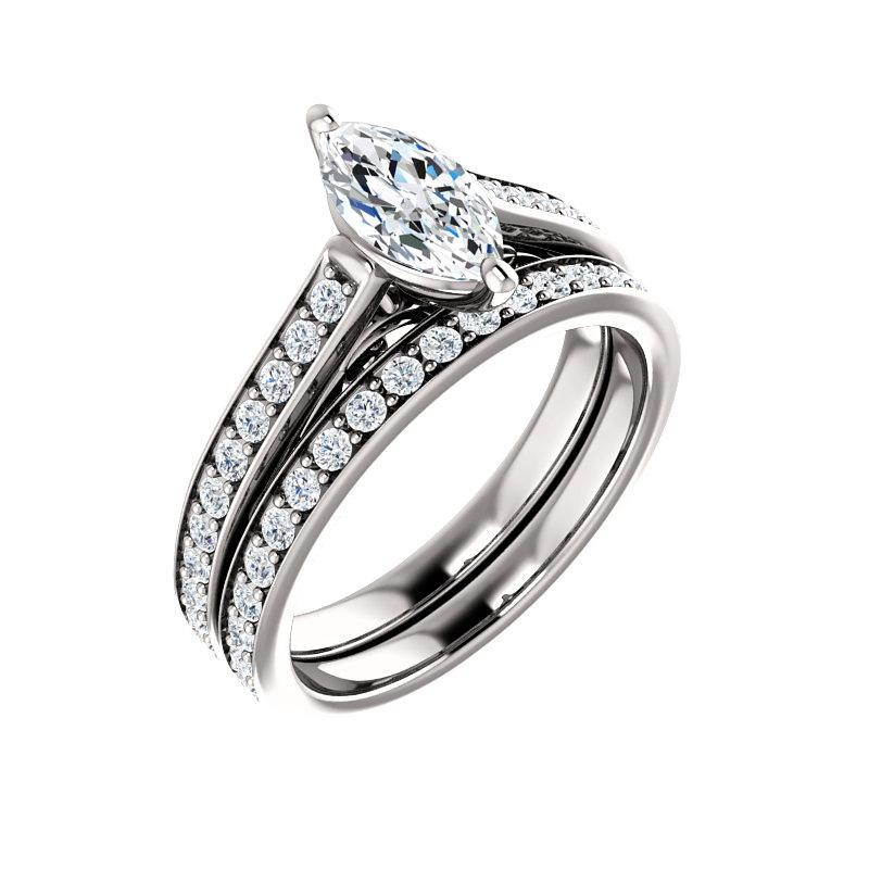 The Andrea Moissanite marquise diamond engagement ring solitaire setting white gold with matching band