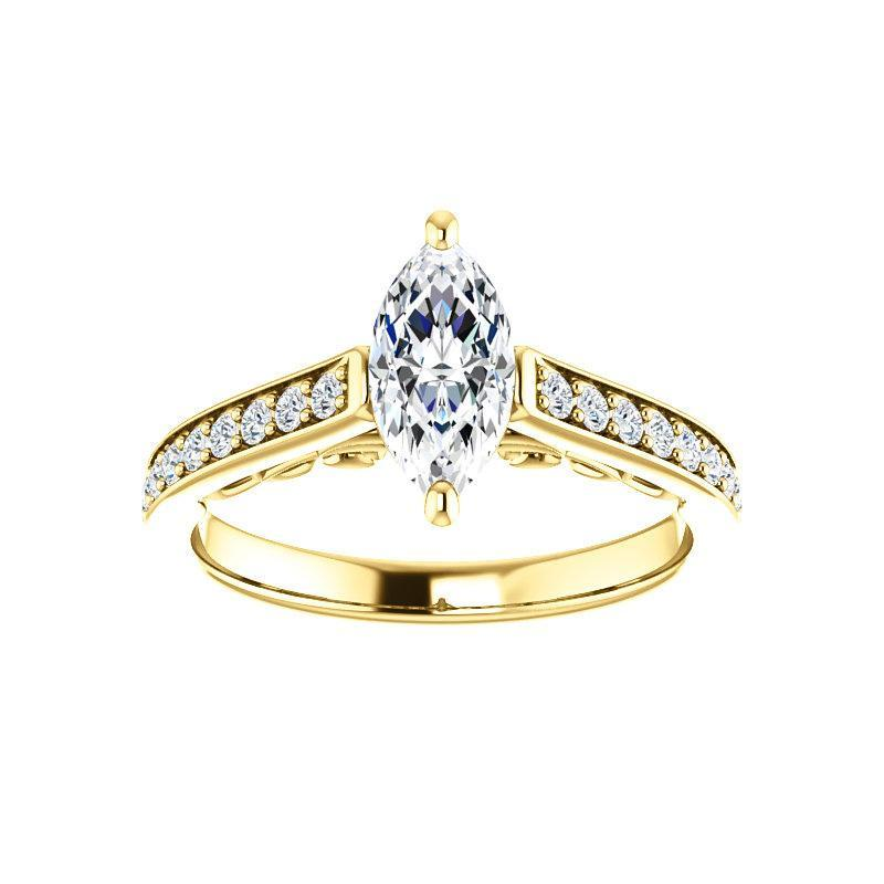 The Andrea Moissanite marquise moissanite engagement ring solitaire setting yellow gold