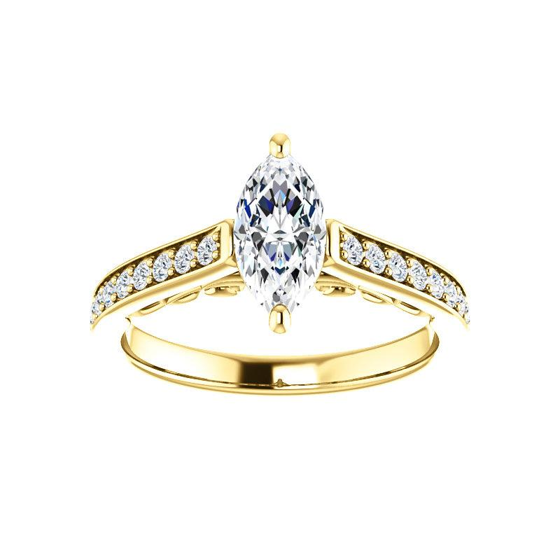 The Andrea Moissanite marquise diamond engagement ring solitaire setting yellow gold