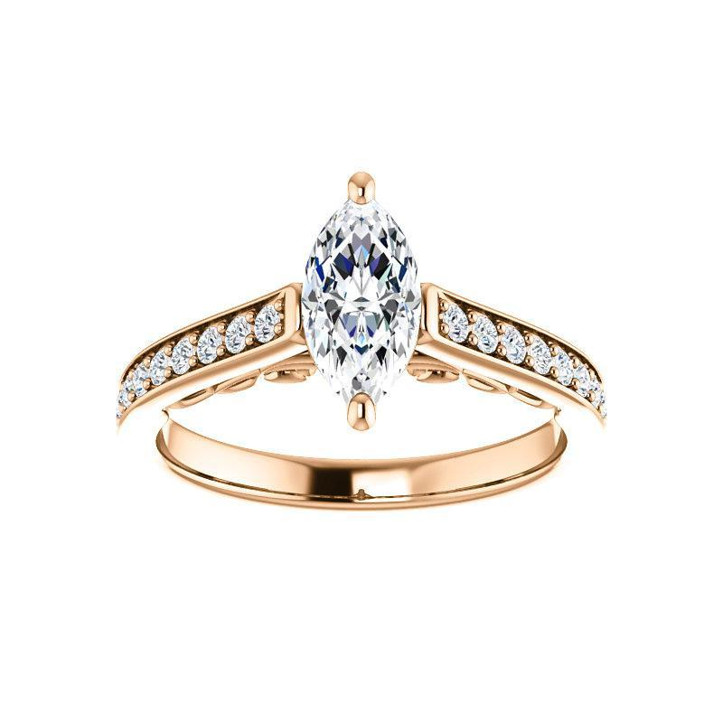 The Andrea Moissanite marquise moissanite engagement ring solitaire setting rose gold