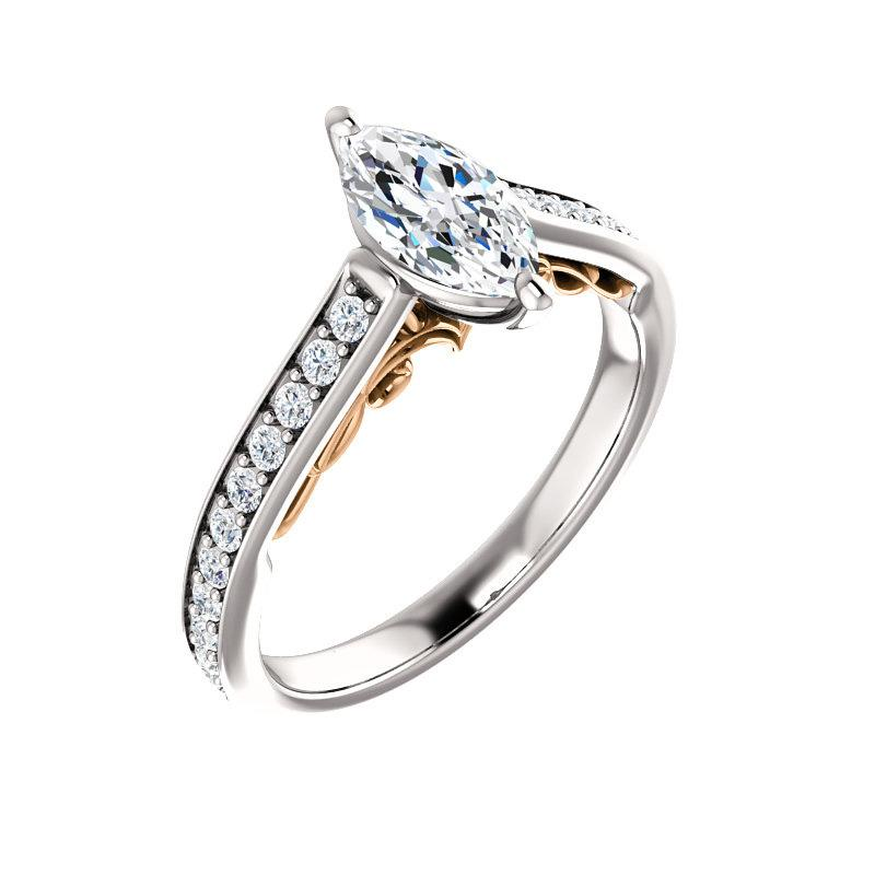 The Andrea Moissanite marquise diamond engagement ring solitaire setting white | yellow and white accent