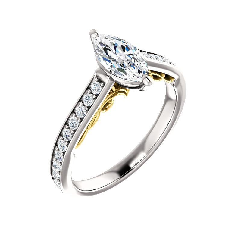 The Andrea Moissanite marquise moissanite engagement ring solitaire setting white gold and yellow gold accent