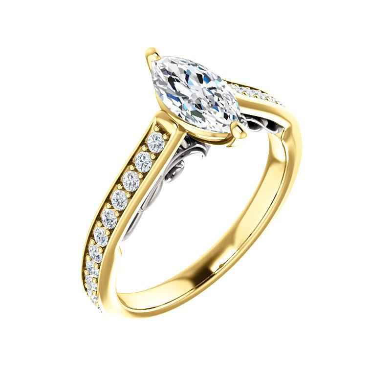 The Andrea Moissanite marquise diamond engagement ring solitaire setting yellow gold and white gold accent