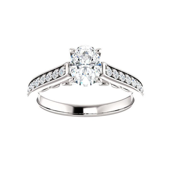 The Andrea Moissanite oval moissanite engagement ring solitaire setting white gold