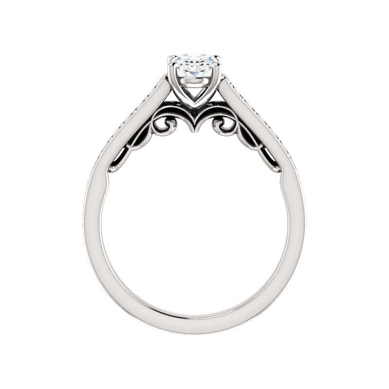 The Andrea Moissanite oval diamond engagement ring solitaire setting white gold side profile