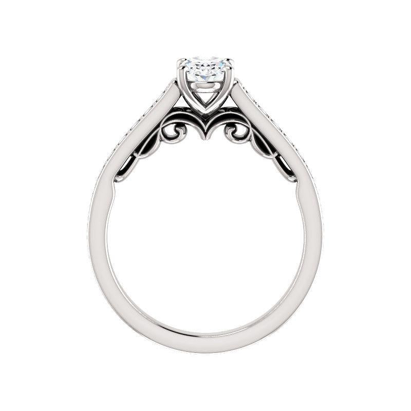 The Andrea Moissanite oval moissanite engagement ring solitaire setting white gold side profile